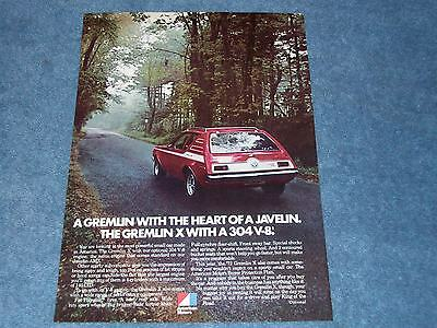 """1972 AMC Gremlin X Vintage Ad """"A Gremlin With the Heart of a Javelin"""""""