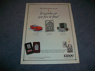 """1997 Zippo Lighters 65 Years Ad """"It Works or we Fix it Free!"""""""