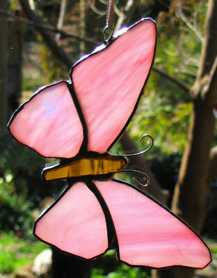 STREAKY PINK STAINED GLASS BUTTERFLY suncatcher CUSTOM LEADLIGHTS in STORE Gift