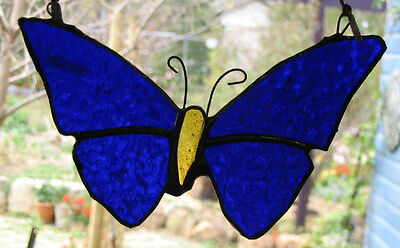DARK BLUE ULYSSES STAINED GLASS BUTTERFLY suncatcher CUSTOM MADE LEADLIGHTS GIFT