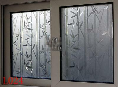 90cm x3m Static Glueless 3D Bamboo Reusable Removable Window Glass Film L024