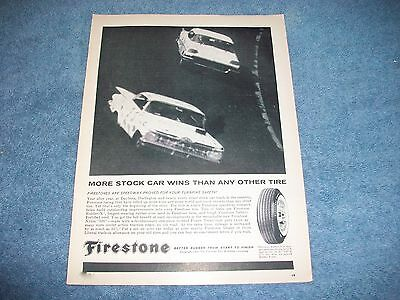"""1960 Firestone Tires Vintage Ad """"More Stock Car Wins Than Any Other Tire"""" Impala"""