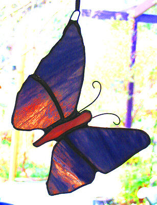LAVENDER PURPLE STAINED GLASS BUTTERFLY suncatcher CUSTOM MADE LEADLIGHTS GIFT