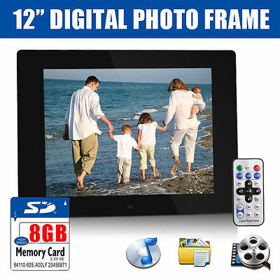"12"" Black HD Digital Photo Frame MP3 AVI Audio Video Photograph + 8GB SD Card"