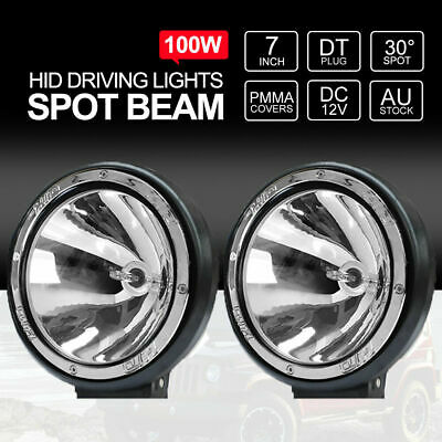 """7"""" inch 200W HID Driving Lights Xenon Spotlights Offroad 4x4 Work 12V Silver"""