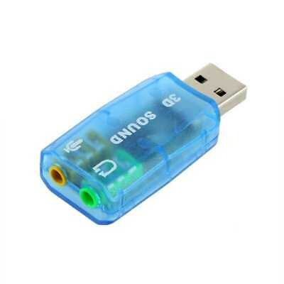 USB 2.0 3D Soundkarte Sound Card 5.1 Kanal Audio Adapter Karte Mini Jack blau