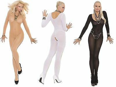 Elegant Moments Black/White/Nude Opaque Crotchless Bodystocking O/S & Plus Size