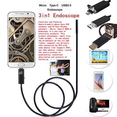 2 in 1 Android Endoscope Waterproof Borescope Inspection Tube Snake Camera 1M-5M