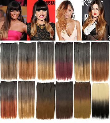 One Piece 20'' Clip In Dip Dye Ombre Straight Hair Extension Hair Piece Weft
