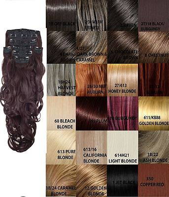 New 8 Piece Set Weft Curly Clip In Synthetic Hair Extensions Koko 30 Colours