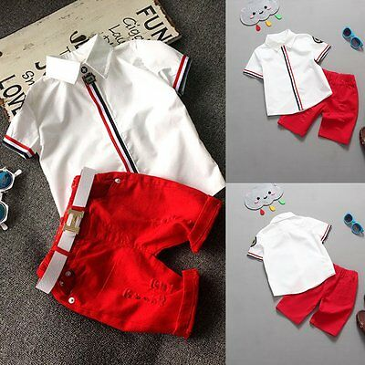 Toddler Kids Baby Boy Summer Clothes Casual T-shirt Tops+Shorts 2pcs Outfits Set