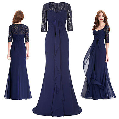 Half Sleeve Formal Evening Ball Gown Party Bridesmaid Masquerade Prom Dress UK