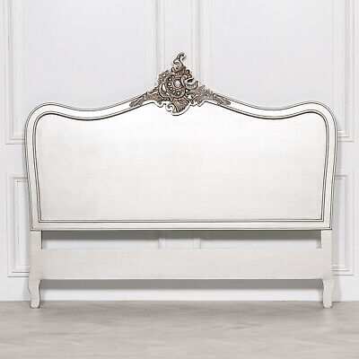 French Style Antique Silver 5ft King Size Shabby Chic Headboard