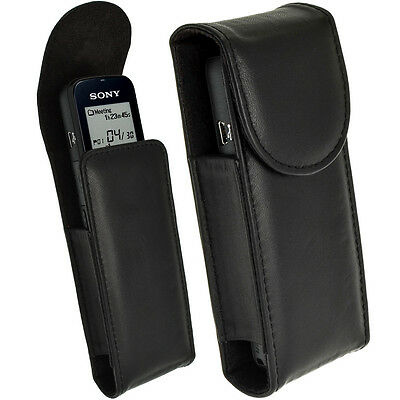Black Genuine Leather Case Cover for Sony ICD-PX312, PX333, PX440 Voice Recorder