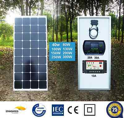 40W 80W 100W 120W 150W 200W 12V Mono Solar Panel + Solar Charge Regulator