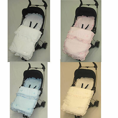Beautiful Frilly Broderie Anglaise Footmuff/ Cosy Toes Babystyle Oyster Prestige