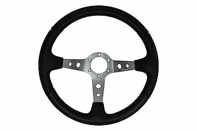 Grey Black 345mm Marino deep dish steering wheel fit Momo OMP Sparco boss kit