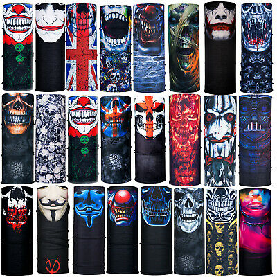 Multi use Skulls Biker Balaclava Neck Tube Warmer Snood Scarf Face Mask Bandana