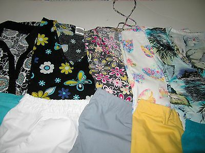 Womans Lot Of Scrub Sets, 5 Tops, 5 Pants, Leaves Designs  Nice Size M (Box 326)