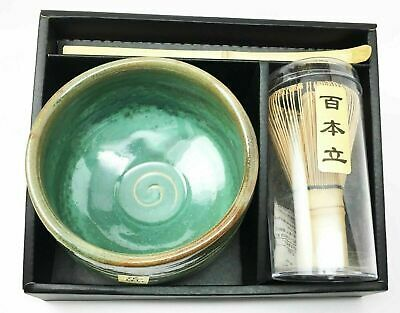 Japanese Traditional Tea Matcha Set With Bowl Wooden Whisk & Scoop Japan Made