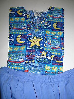 Womens Size Large Dental Scrub Set  Top And Pants Blue Moons And Stars Nuc