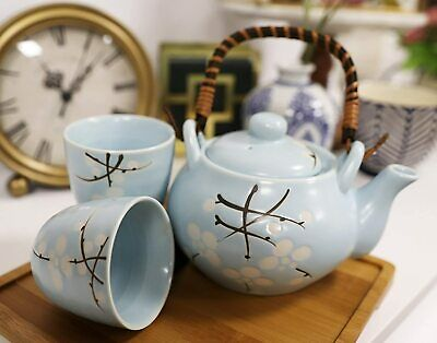 Japanese Design Blue Cherry Blossom Sakura Tea Pot and Cups Set Japan Home Decor