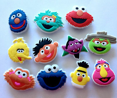 Sesame Street Cartoon Characters 11pc Image Face Shoe Charms Cupcake Toppers