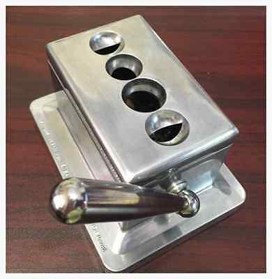 Stainless Steel Cast Body Quad Table Top Desktop Cigar Cutter New