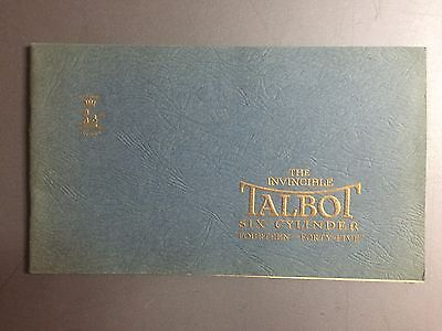 1928 Talbot 14 / 45 Showroom Advertising Sales Brochure RARE!! Awesome L@@K