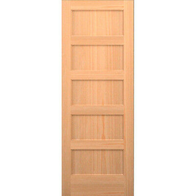 Clear Pine 5 Panel Flat Mission Shaker Solid Core Interior Wood Doors Model#5TMH