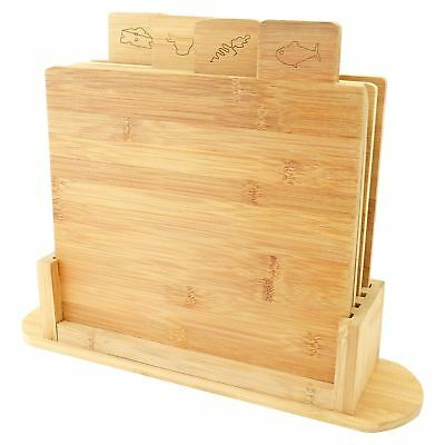 5pcs Piece Bamboo Kitchen Cutting Chopping Board Stand Set Meat Cheese Vegitable