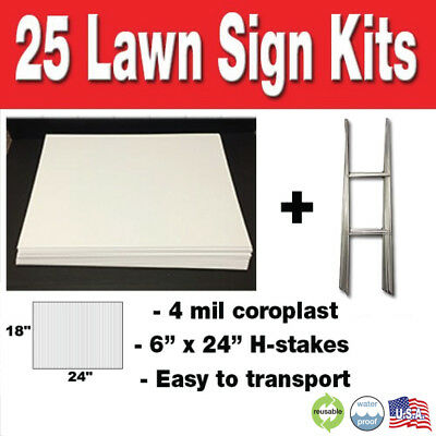 25 Pack Blank Yard Signs 18x24 with H-stakes for Garage Sales & Graduations!!