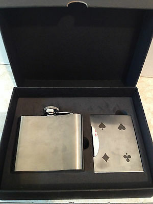 New Stainless Steel 5oz Flask Stainless Steel Card Case and Deck of Cards