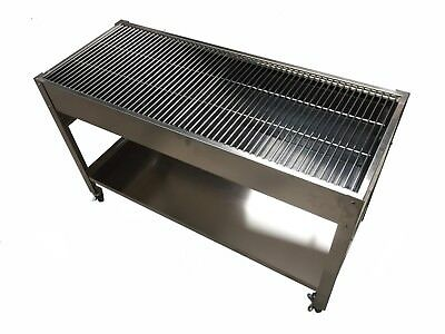 LARGE STAINLESS STEEL CHARCOAL CATERING COMMERCIAL BBQ - 6mm GRILLS