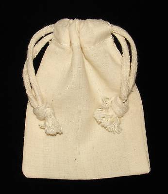 POUCH - NATURAL MUSLIN Crystal Bag w/ Drawstring - 4 x 3