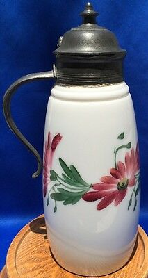 Antique Hand Painted Milk Glass Syrup/ Cream With Pewter Top & Handle