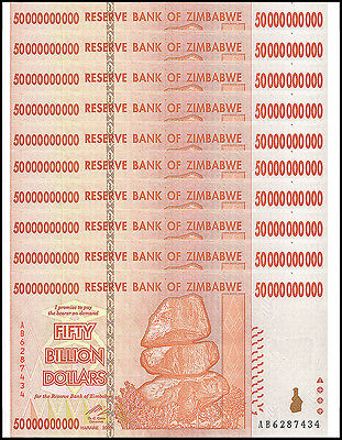 Zimbabwe 50 Billion X 10 Pieces (PCS), 2008, P-87, Circulated, Used,100 Trillion