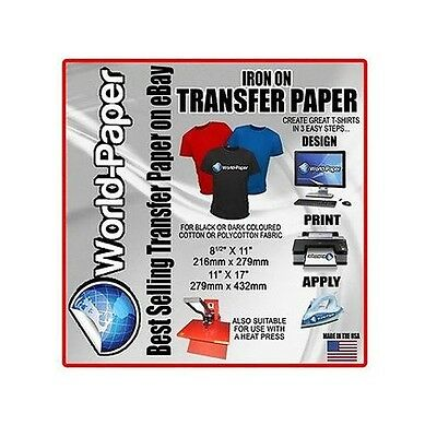 "IRON ON HEAT TRANSFER PAPER / DARK COLOR 100 SHEETS 8.5"" x 11"" - :)"