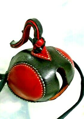 New Falconry Hood Dutch Hand Stitched (Black/Red) (All Sizes Available)