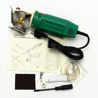 70MM 110V Electric Fabric Rotary Blade Cutter Scissors Cloth Cutting Machine New