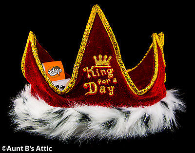 Crown Red & Gold King For A Day Soft Fabric & Faux Fur Embroidered  Novelty Hat