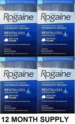 12 Months Rogaine Extra Strength Men Hair Loss Regrowth Supply Foam 5% Minoxidil