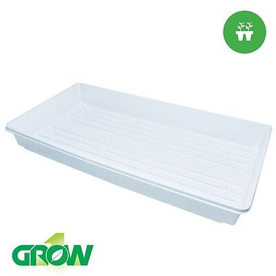 "Grow1 10"" x 20"" White Standard Propagation Tray without Holes"