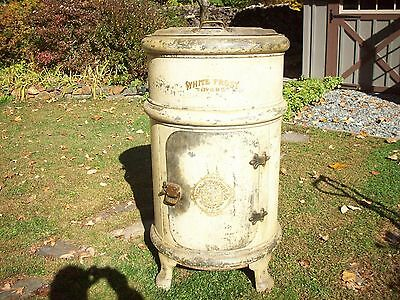 Antique White Frost Metal  Ice Box 1908
