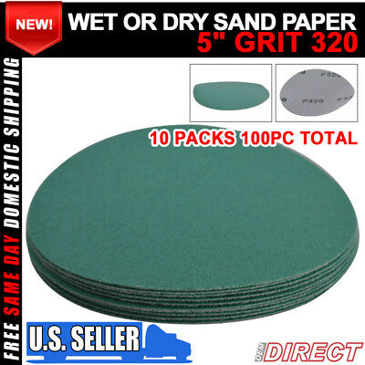 Wet Or Dry 5Inch Sand Paper Disc 320 Grit Collision Repair 100PC Fit For Nissan