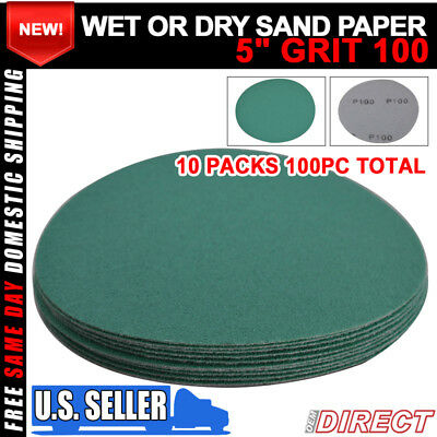 Wet Dry 5 Inch No Hole Sand Paper Disc 100 Grit Collision Repair Sandpaper 100PC