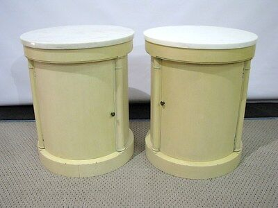 PAIR Vintage Baker Furniture Column-Shaped End Tables w/Marble Tops