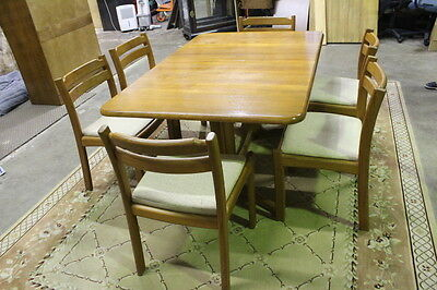 Dyrlund Mid-Century Danish Teak Dining Table, 2 Leaves & 6 Chairs