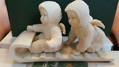 DOWN THE HILL WE GO #79600 DEPT 56 retired SNOWBABIES Issued: 1987
