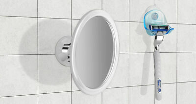 Anti-Fog Bathroom Shower Shaving Mirror with Strong Suction and Razor Holder